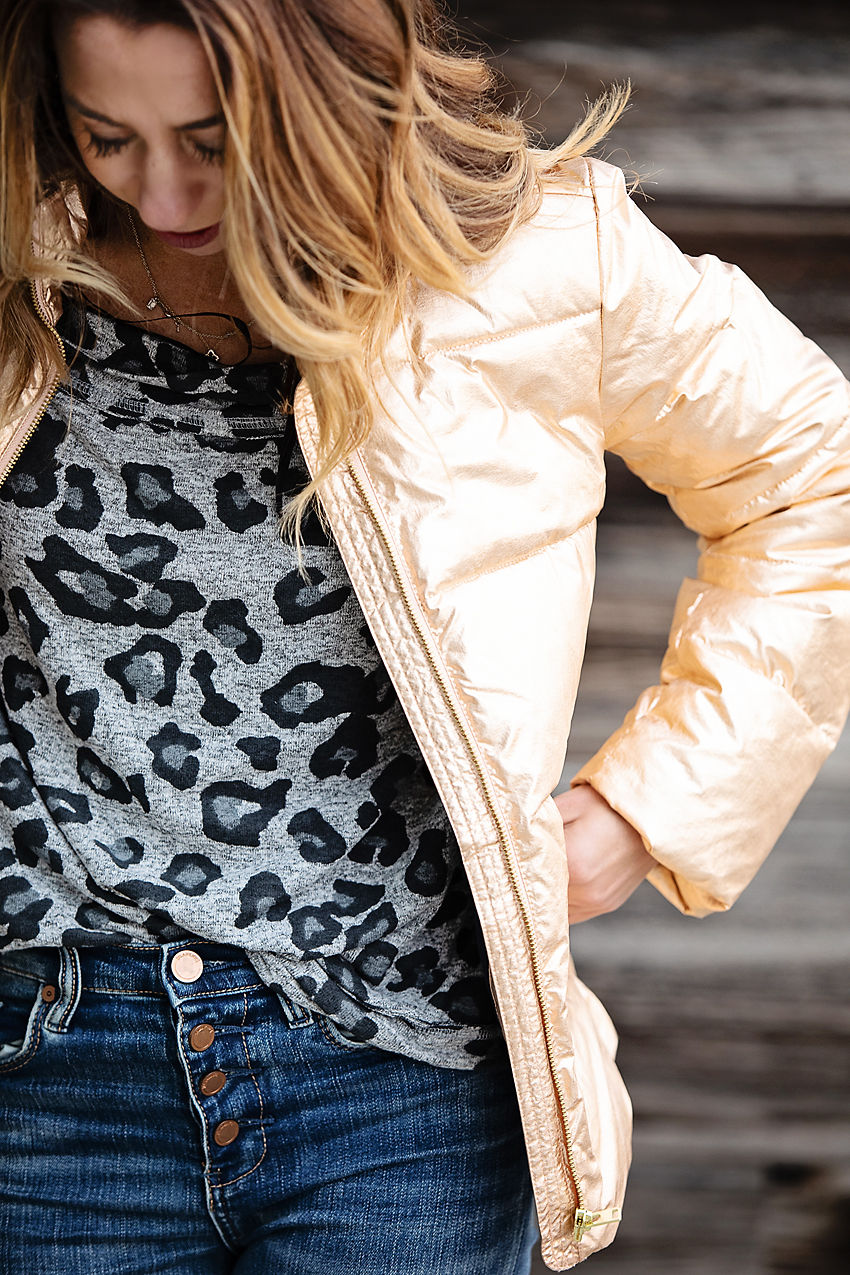 The Motherchic wearing j.crew metallic puffer