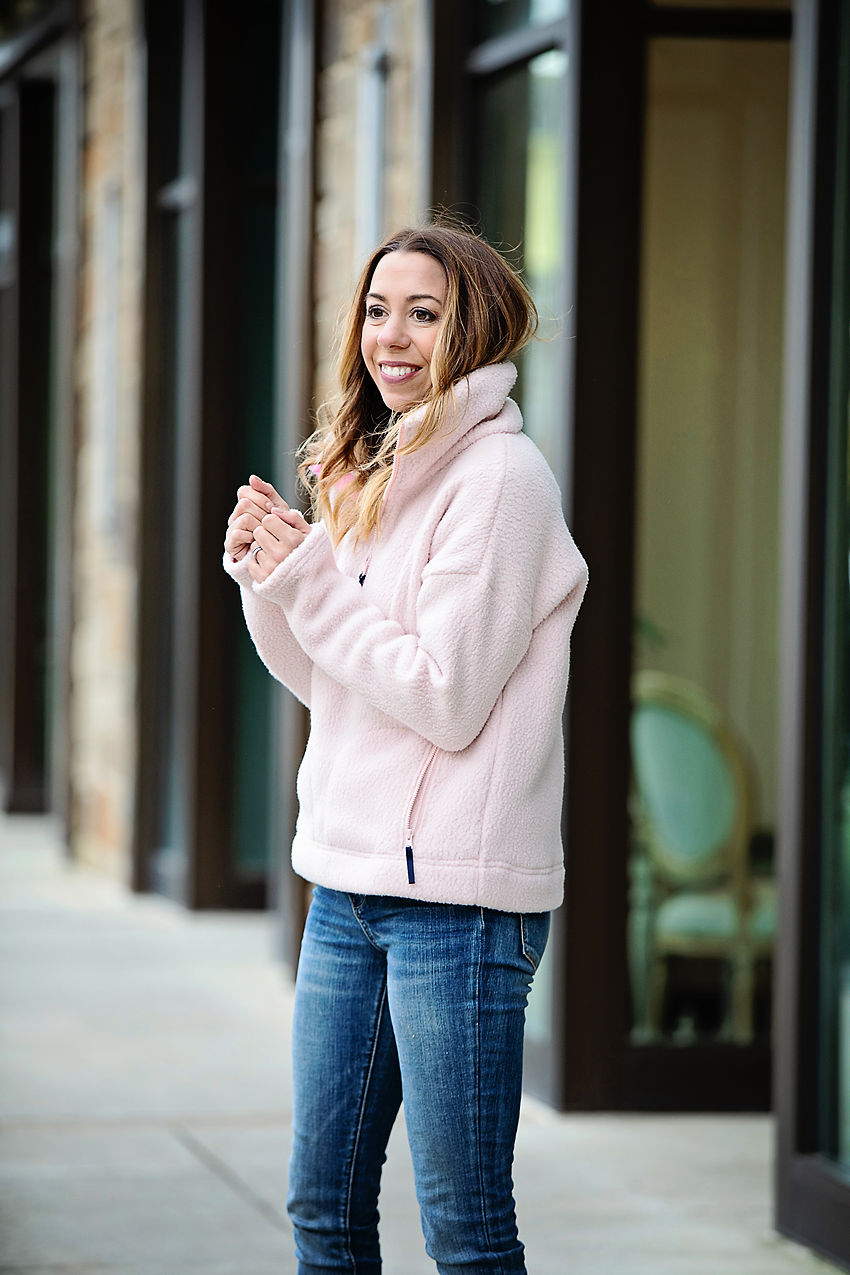 The Motherchic wearing j.crew polartec fleece
