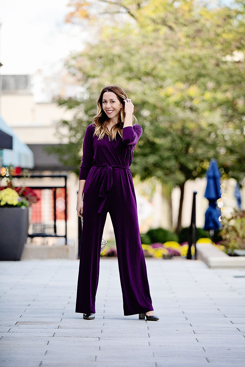 The Motherchic wearing alfani jumpsuit