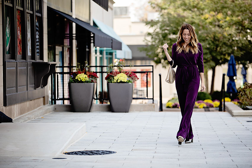 The motherchic wearing alfani jumpsuit from macy's