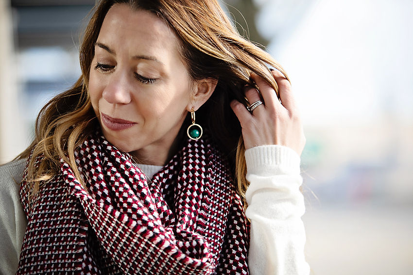 the motherchic wearing leith scarf
