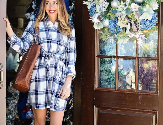 The Motherchic wearing j.crew factory shirtdress