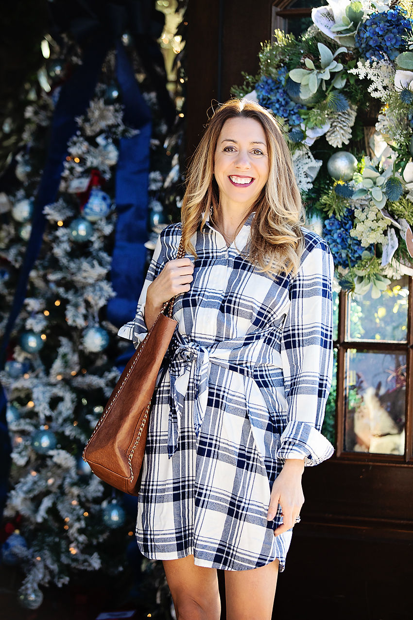 The Motherchic wearing j.crew factory shirt dress