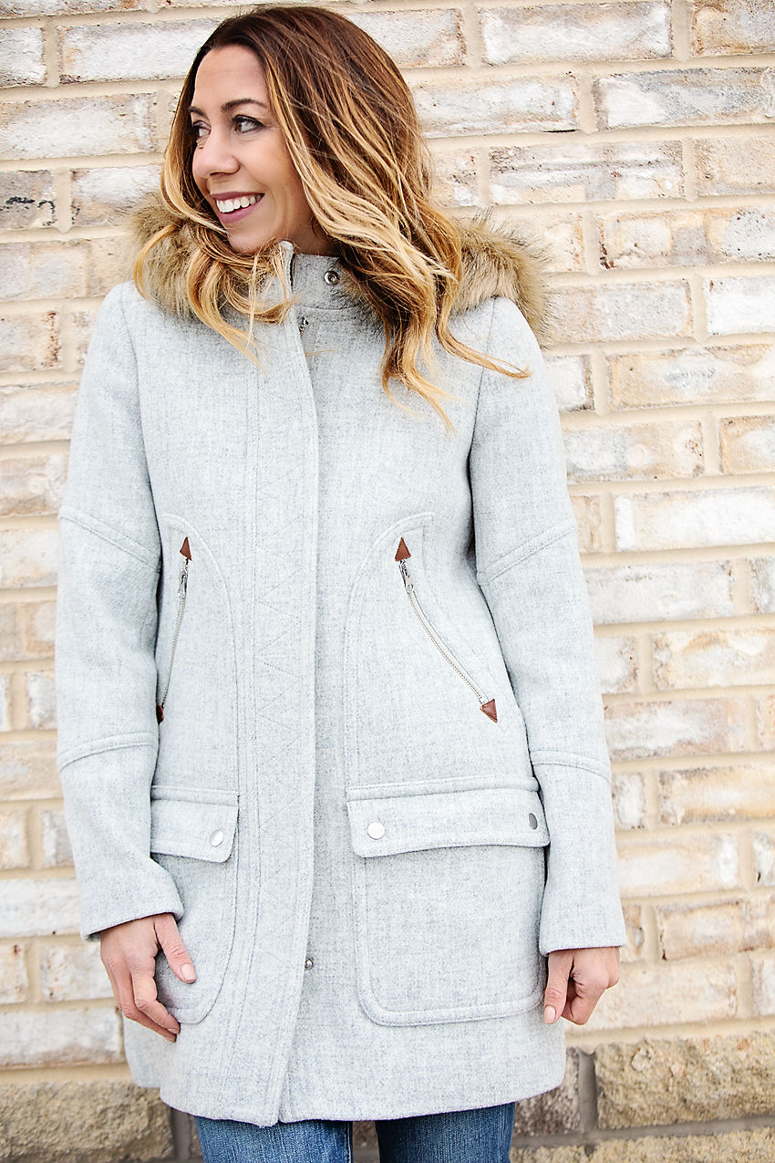 The motherchic wearing j.crew chateau parka.