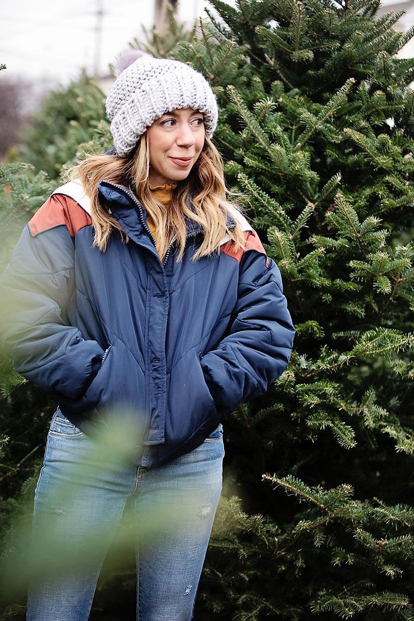 The motherchic wearing free people ski jacket