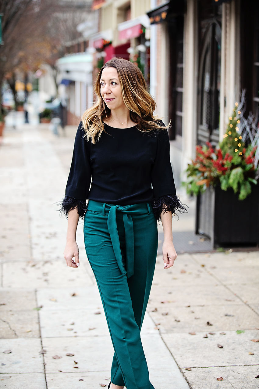 the motherchic wearing ann taylor feather top tie waist pants