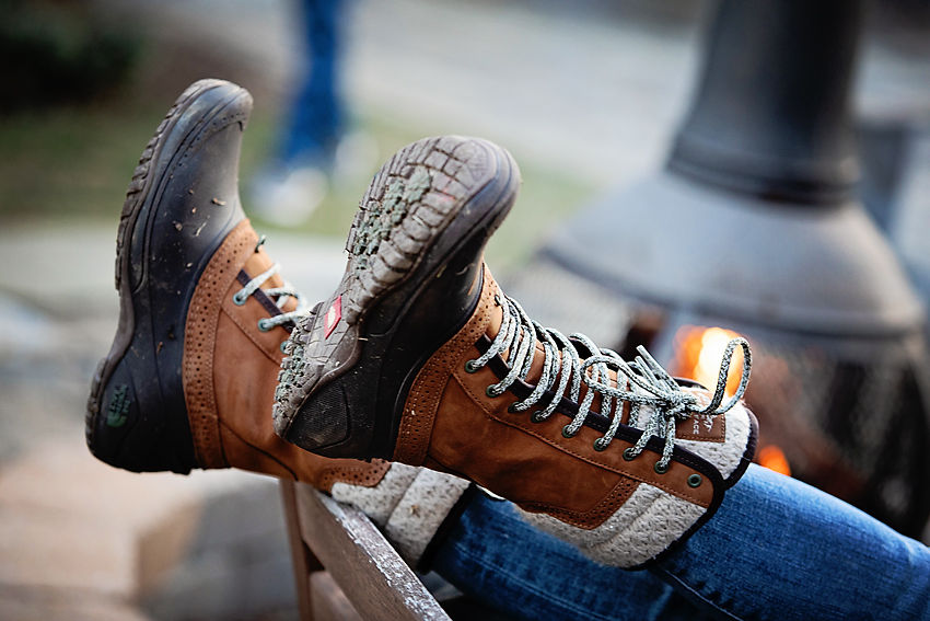 The motherchic wearing the north face boots from backcountry