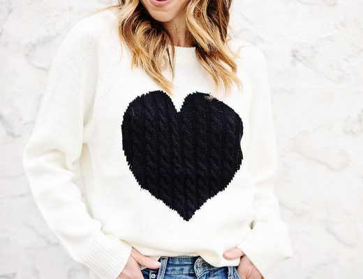 the motherchic wearing amazon heart sweater