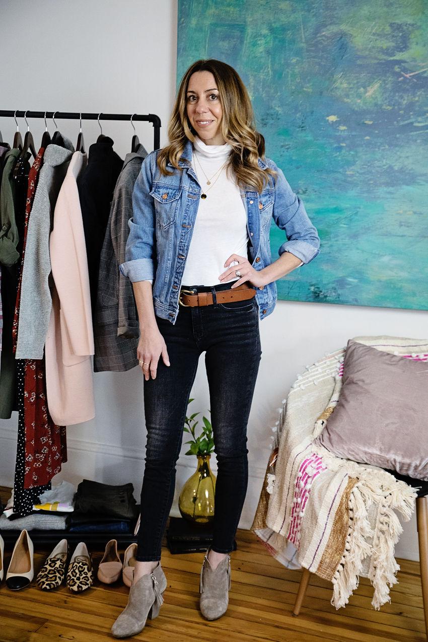 the motherchic capsule wardrobe denim jacket turtleneck jeans booties