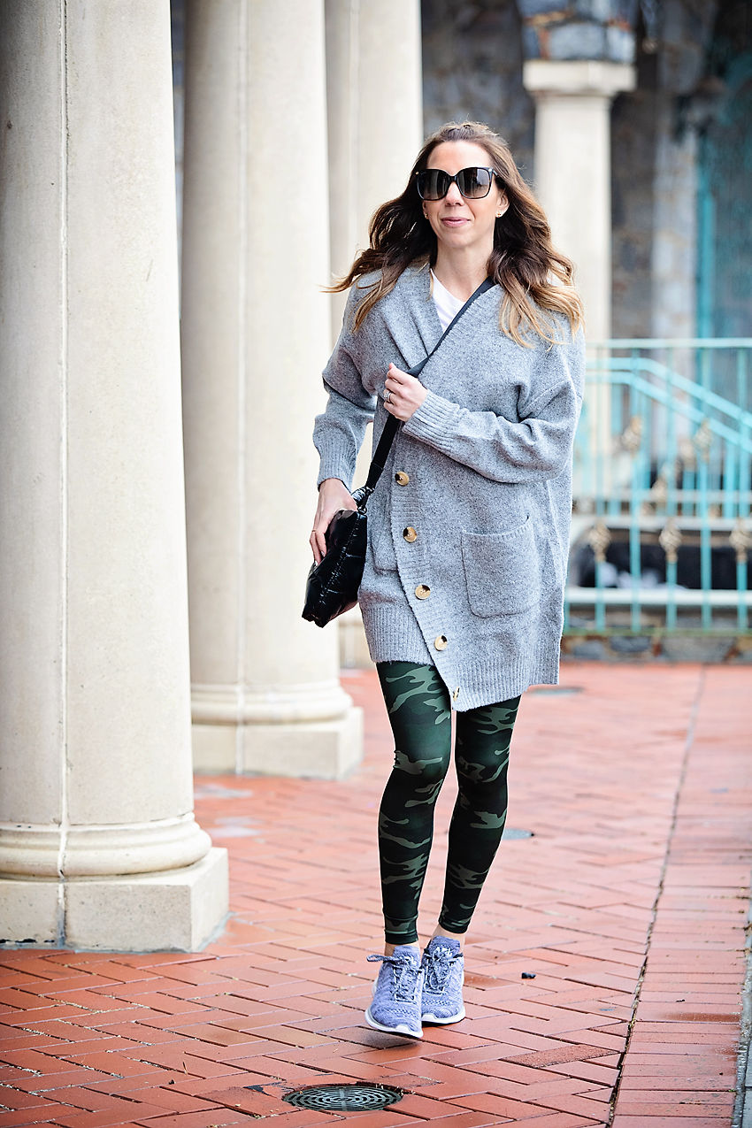 c203b04a7ff The Motherchic wearing easy travel outfit of camo leggings and open  cardigan from Nordstrom ...