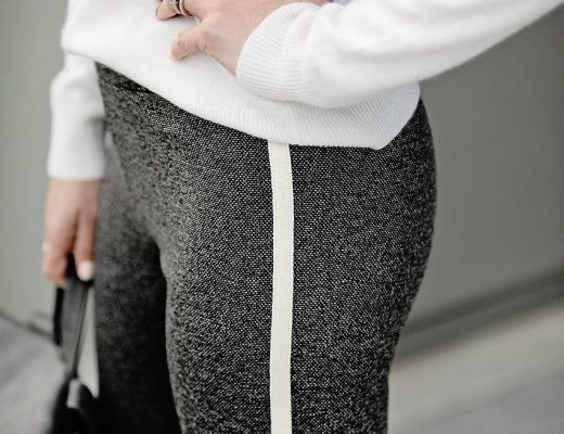 the motherchic wearing loft leggings and jcrew cardigan