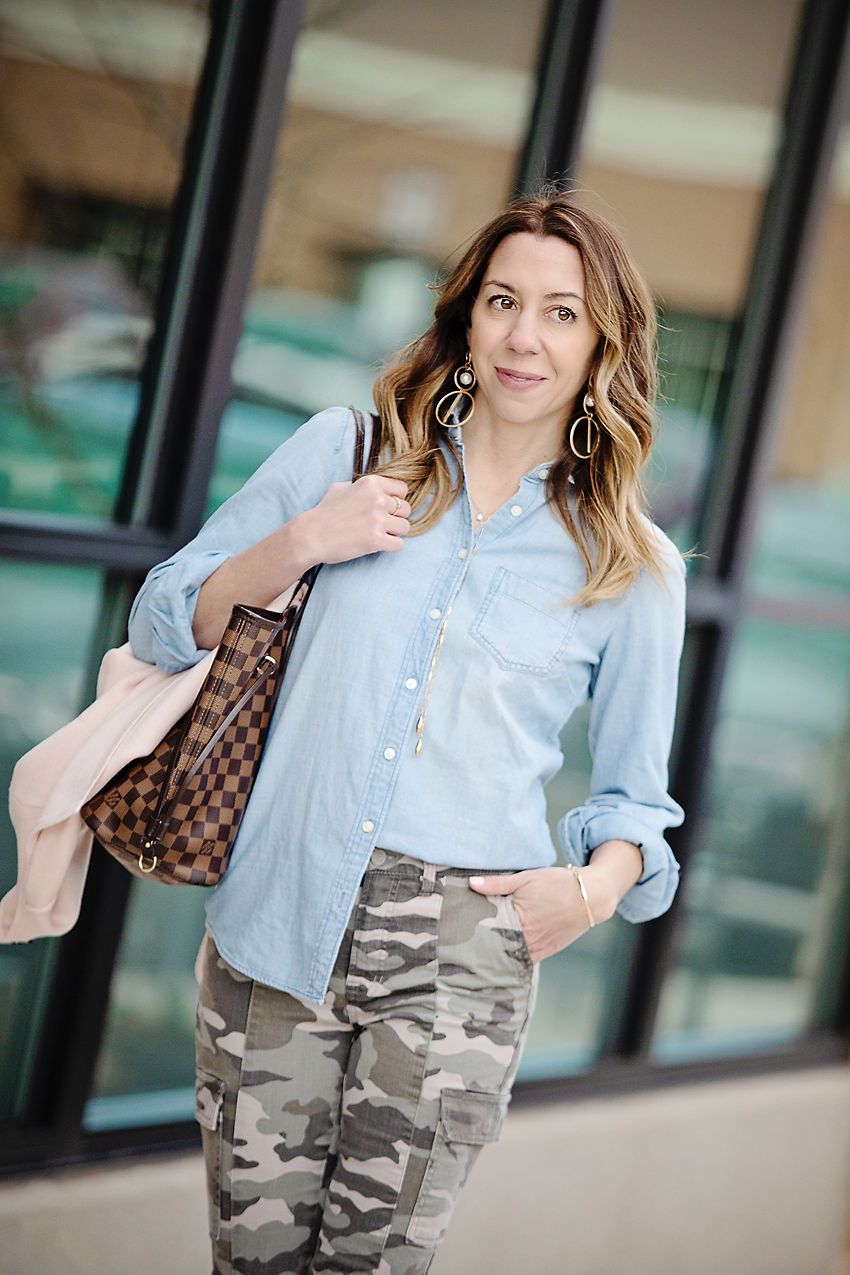 The Motherchic wearing camo pants and chambray