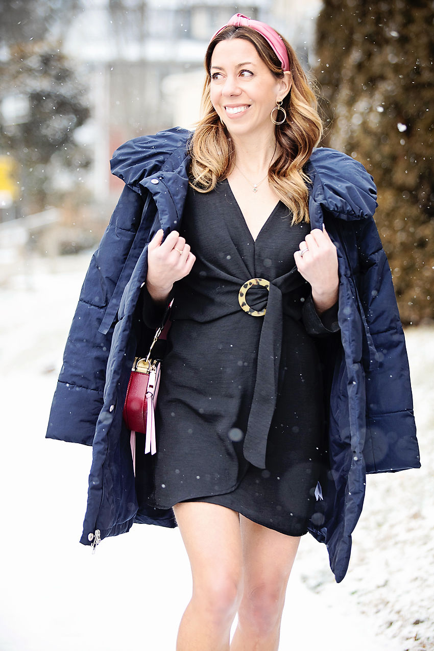 the motherchic wearing topshop dress and amazon coat