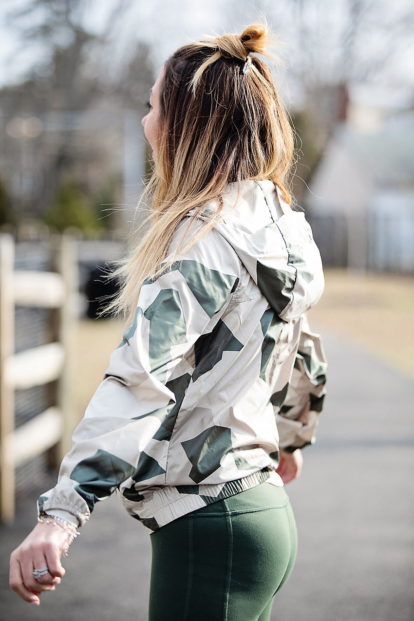 The Motherchic wearing the north face camo windbreaker