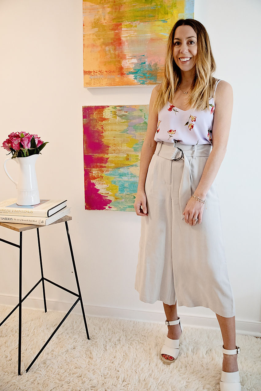 The Motherchic wearing chelsea28 high waist crop pants from Nordstrom