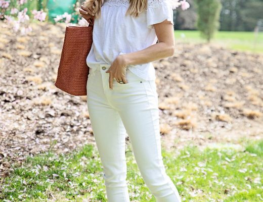 the motherchic wearing white jeans