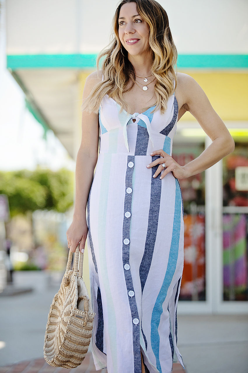 The Motherchic wearing BP dress from Nordstrom