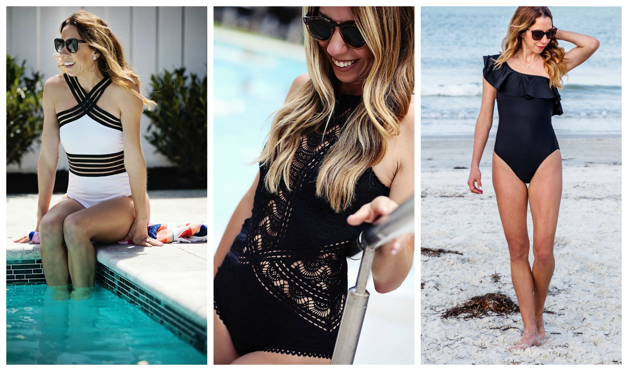 the motherchic wearing swimsuits