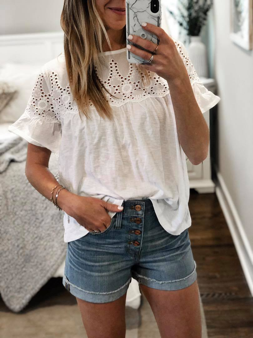 the motherchic wearing j.crew eyelet tee and jean shorts