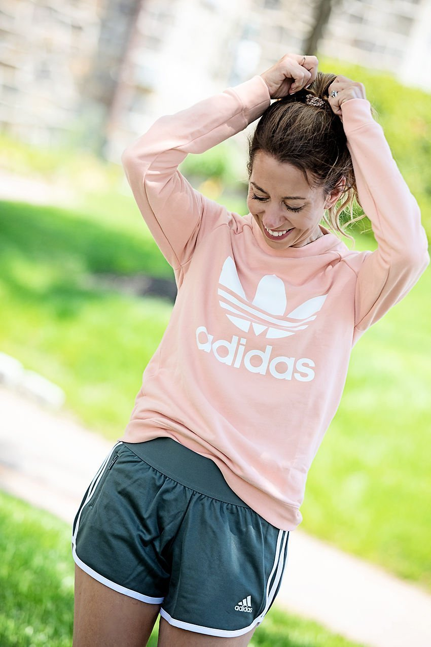 the motherchic wearing adidas