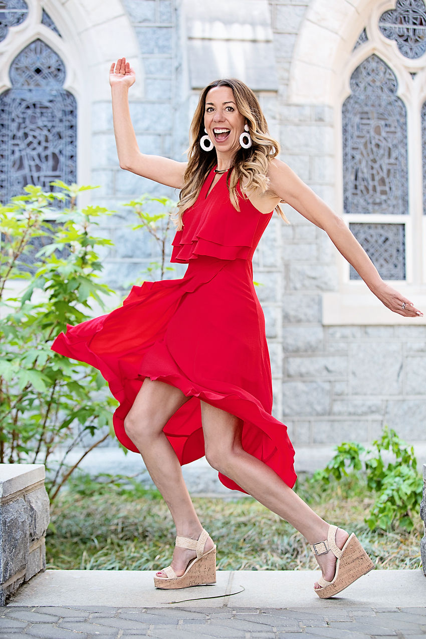 The Motherchic wearing red Kensie Dress from Lord & Taylor