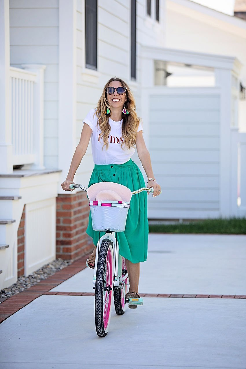 The Motherchic wearing social threads skirt and Friday tee