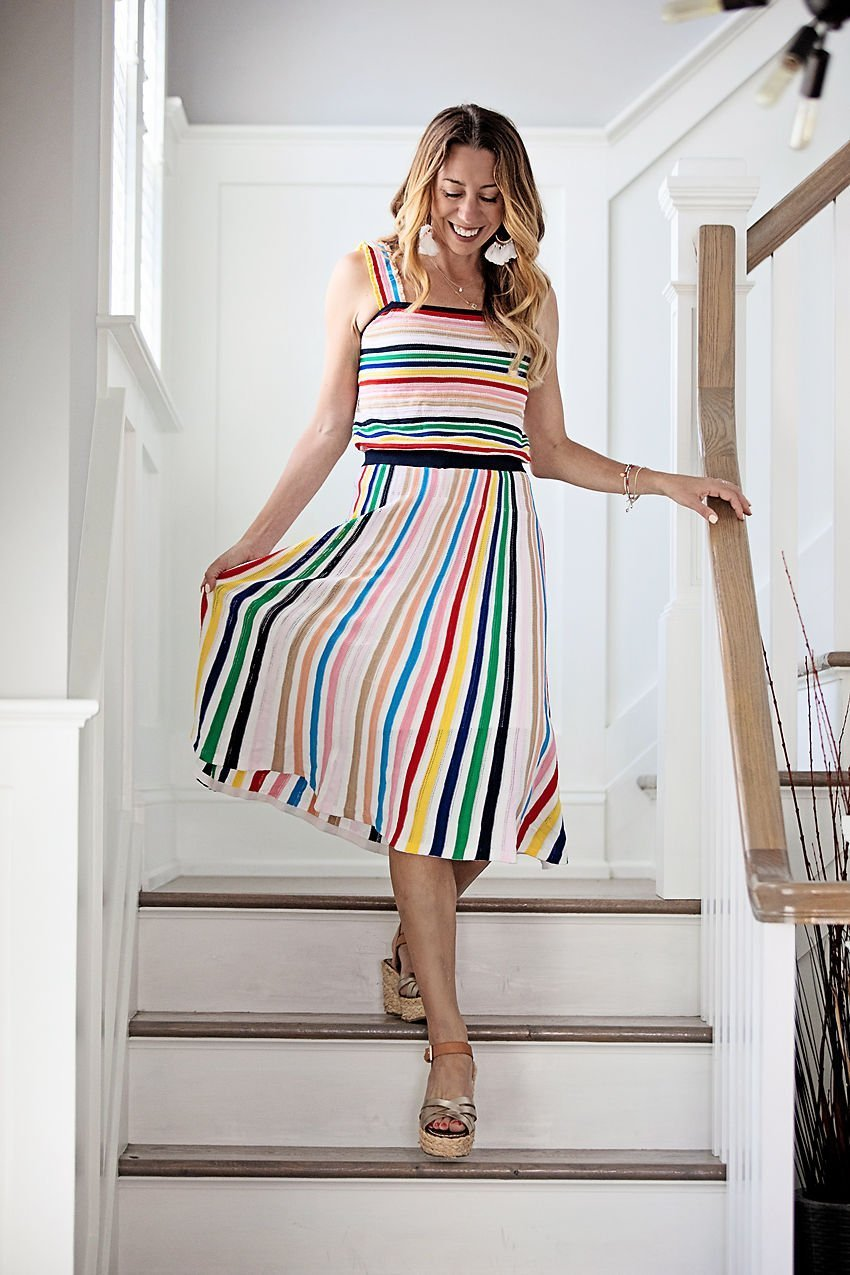 The motherchic wearing rainbow set from j.crew