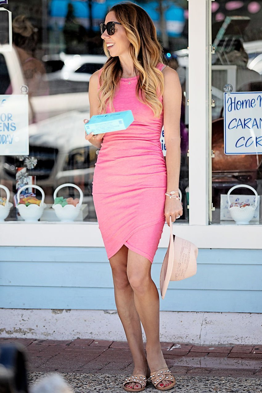 The Motherchic wearing pink Leith tank dress