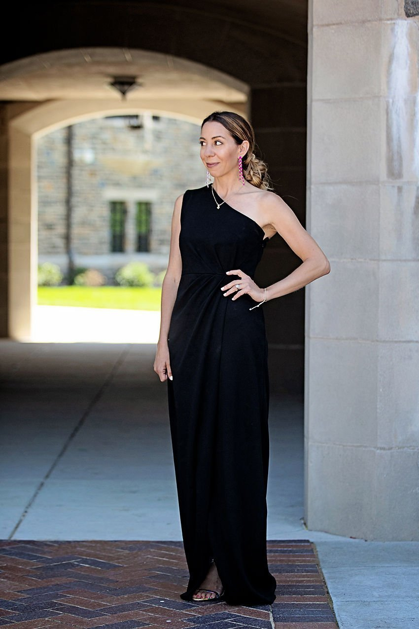The Motherchic wearing classic black tie dress by Calvin Klein from Macy's