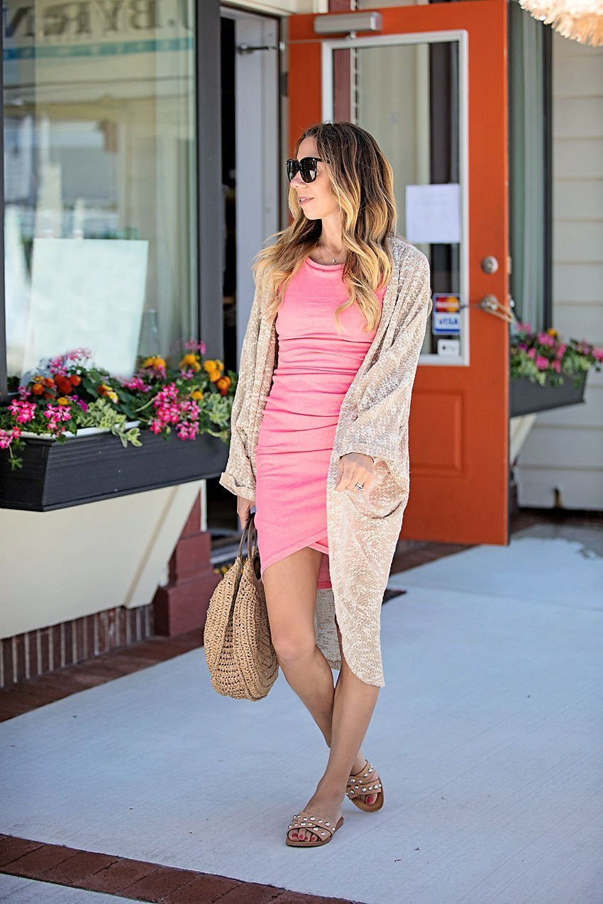 The Motherchic wearing Leith tank dress with long cardigan