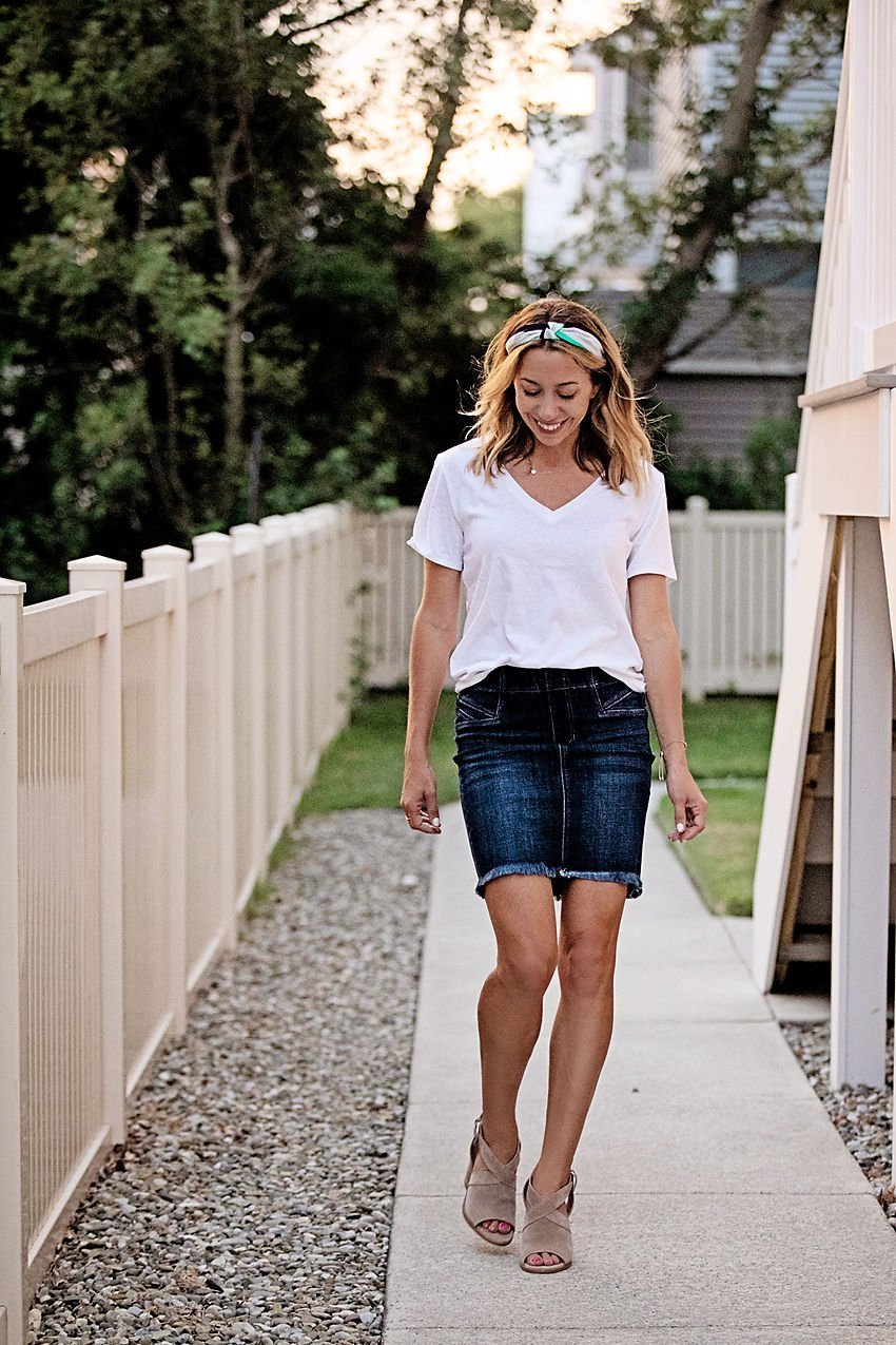 The Motherchic wearing Liverpool  denim skirt