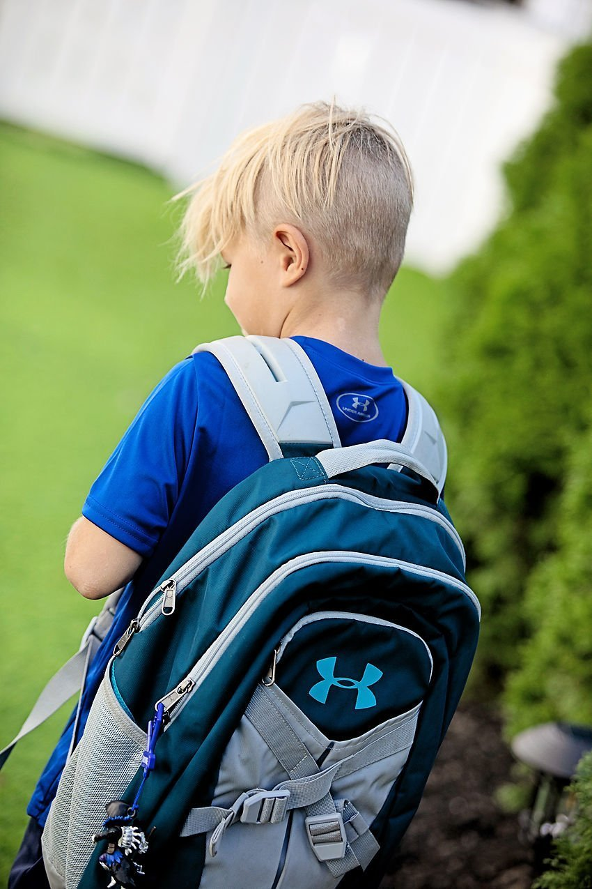 The Motherchic wearing Under Armour backpack