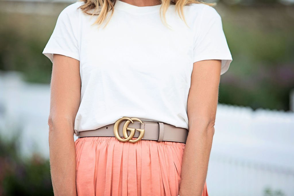 The motherchic wearing Topshop skirt and Gucci belt