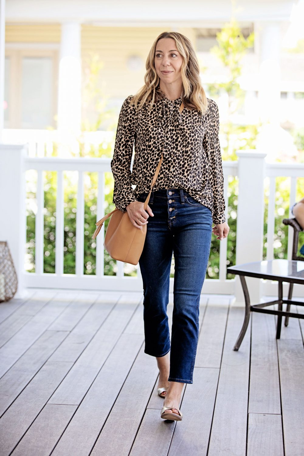 The Motherchic wearing J.Crew Factory leopard top and jeans