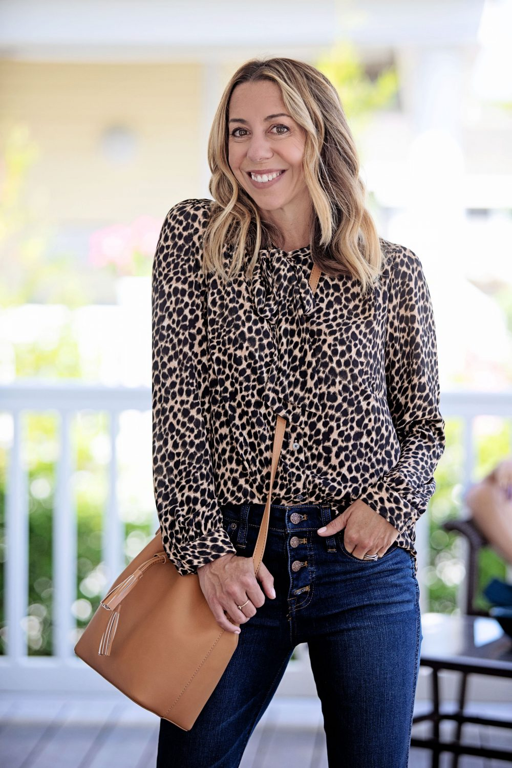The Motherchic wearing J.Crew Factory leopard top