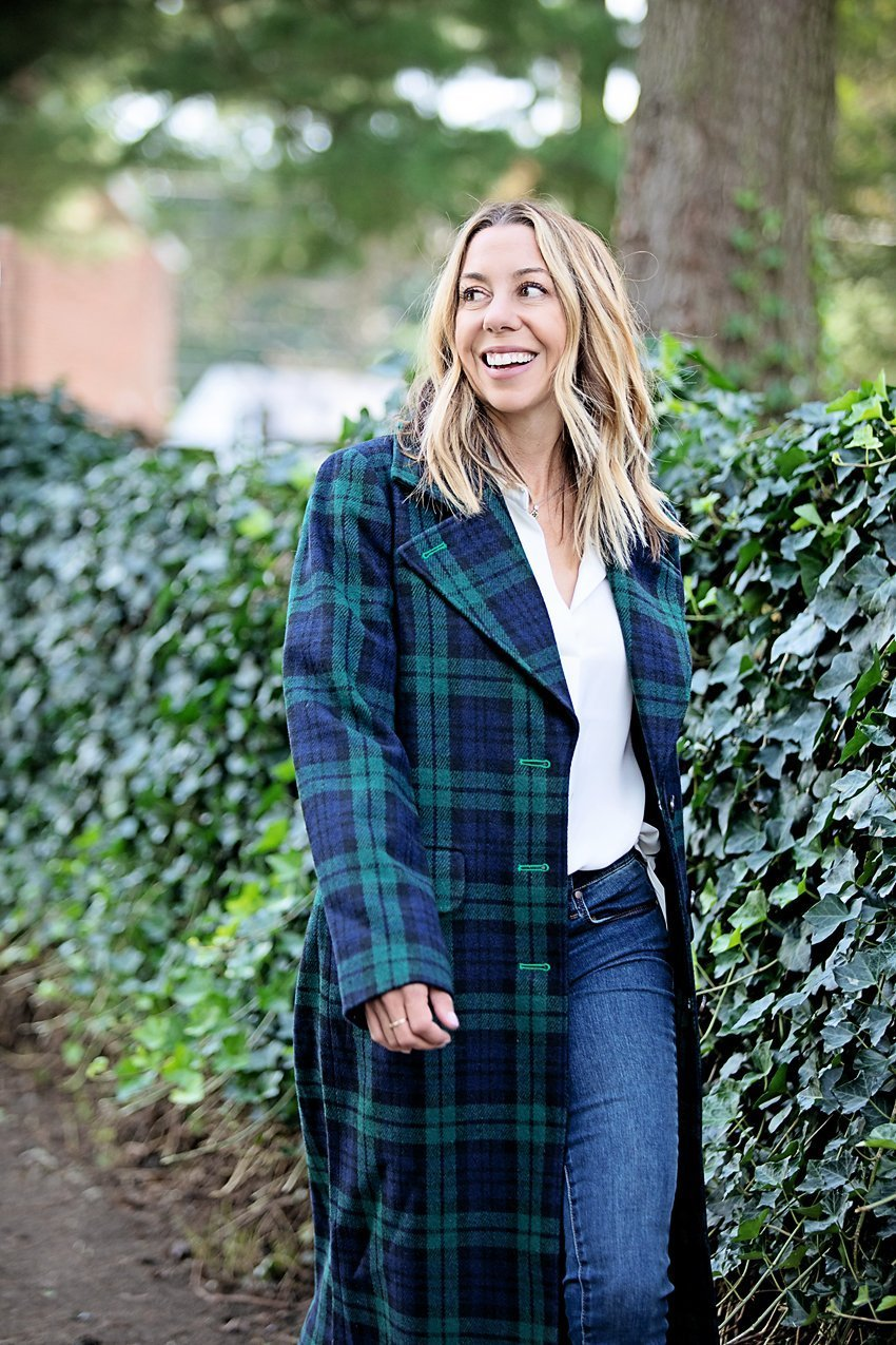 The Motherchic wearing plaid statement coat from Macy's