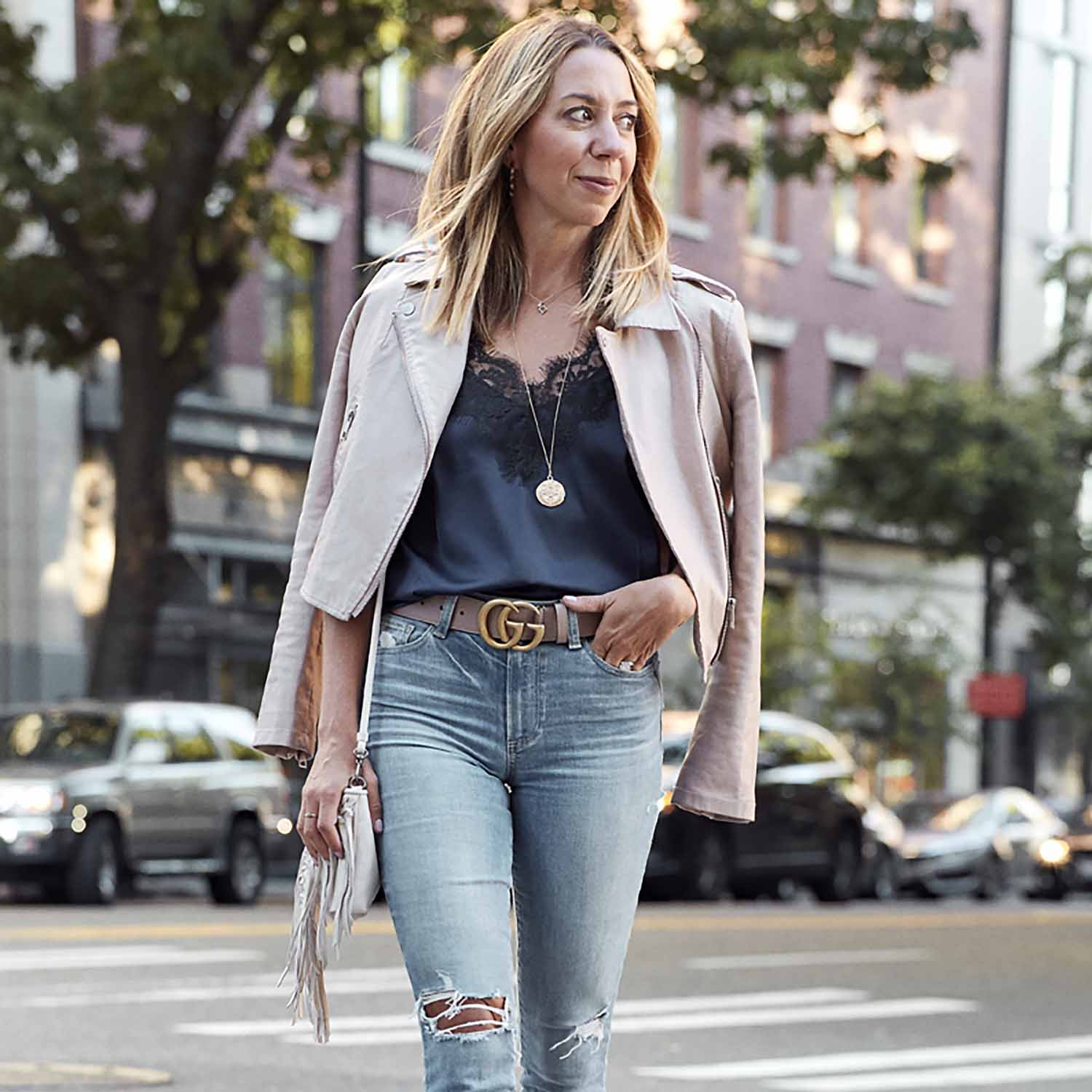 The Motherchic wearing Amazon The drop camisole and jacket