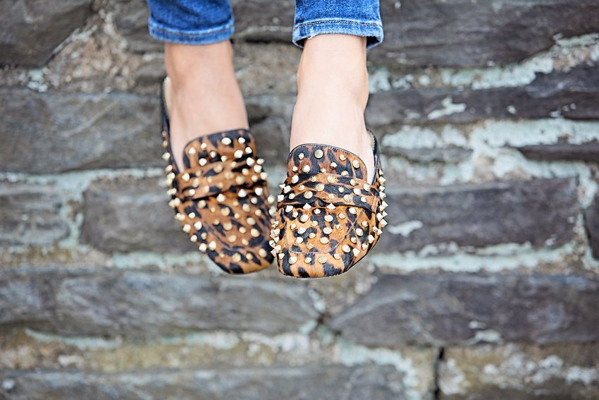 The Motherchic wearing Sam Edelman mules from QVC