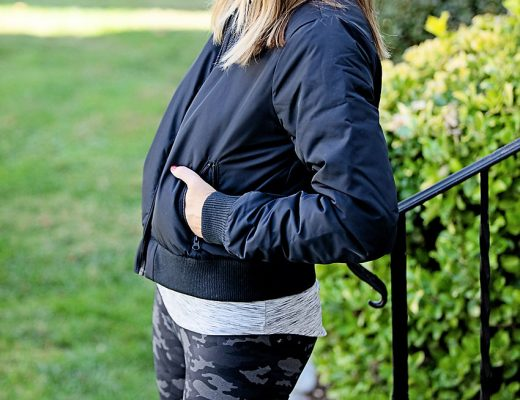 the motherchic wearing core10 bomber and camo leggings