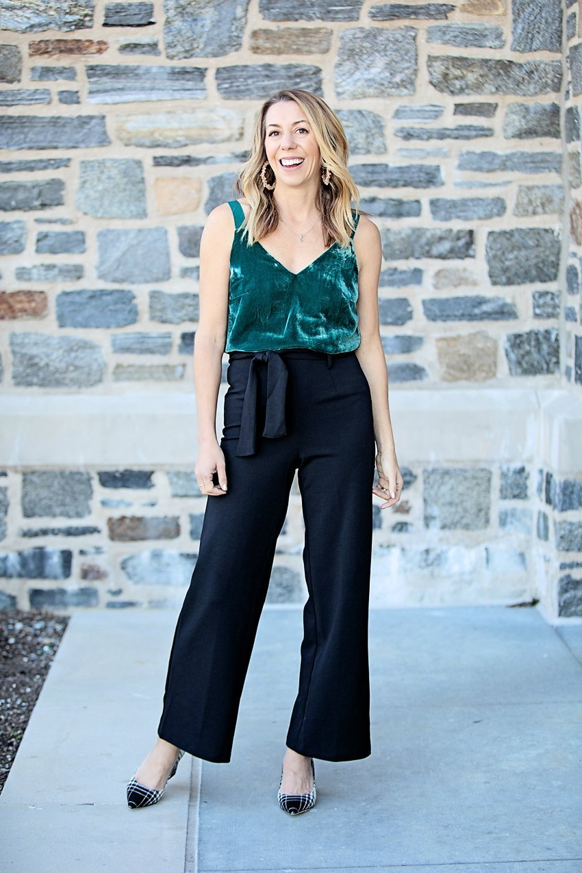 The Motherchic wearing J.Crew velvet tank and wide leg pants to high school reunion outfit idea