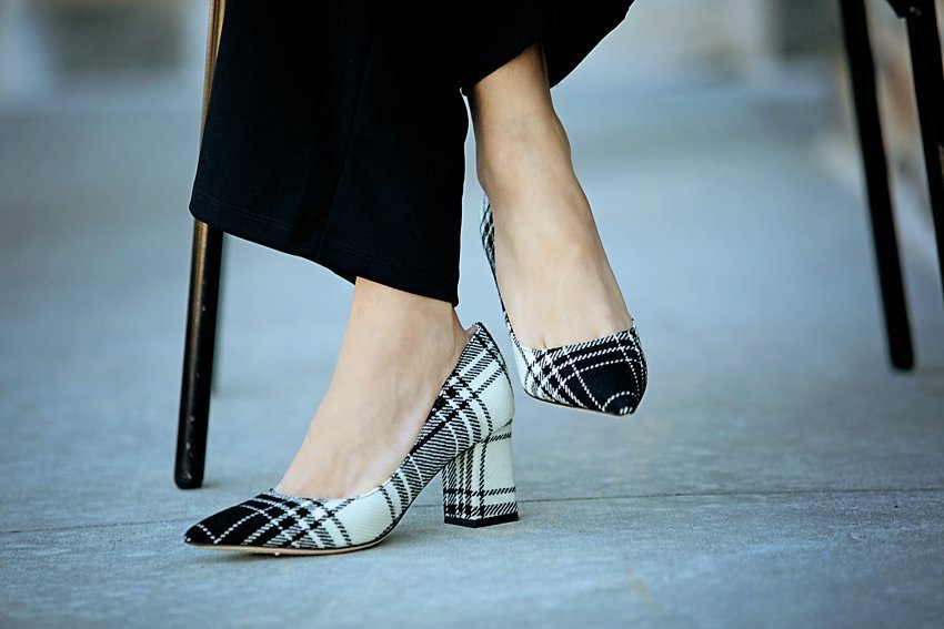 The Motherchic wearing Marc Fisher block heel