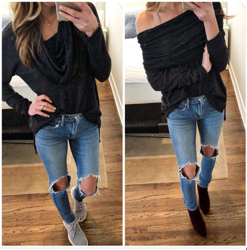 the motherchic wearing gibson off the shoulder at Nordstrom fall sale