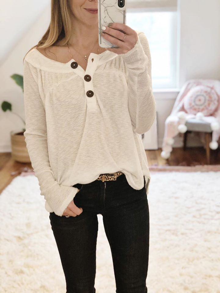 the motherchic wearing free people henley