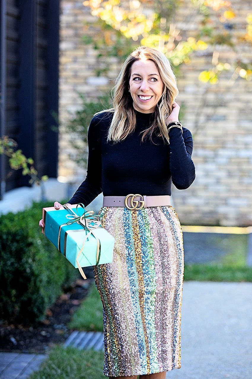 the motherchic wearing nordstrom sequin skirt and bodysuit