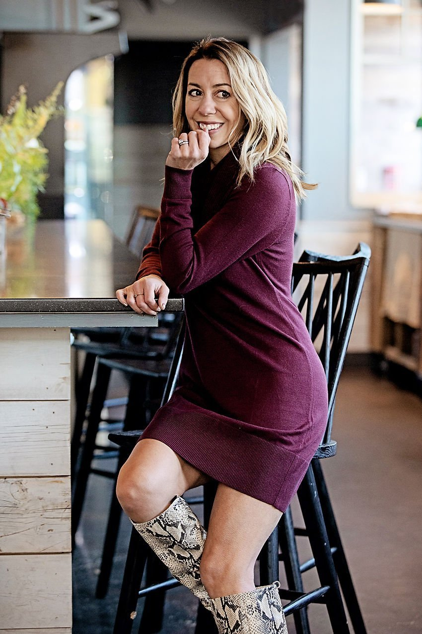 the motherchic wearing sweater dress loft