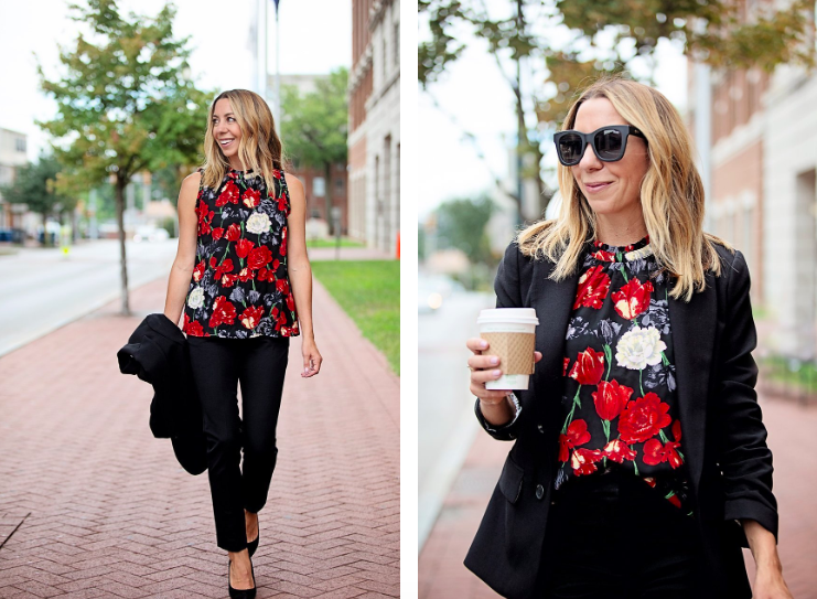 the motherchic wearing gibson printed tank