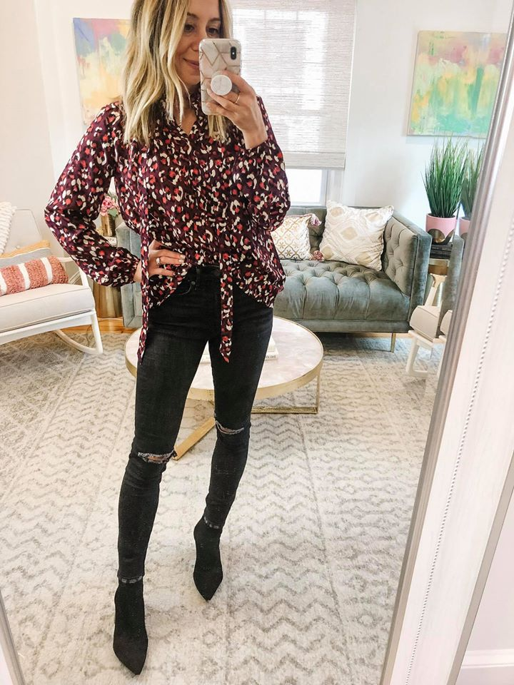 the motherchic wearing gibson printed top fancy ashley