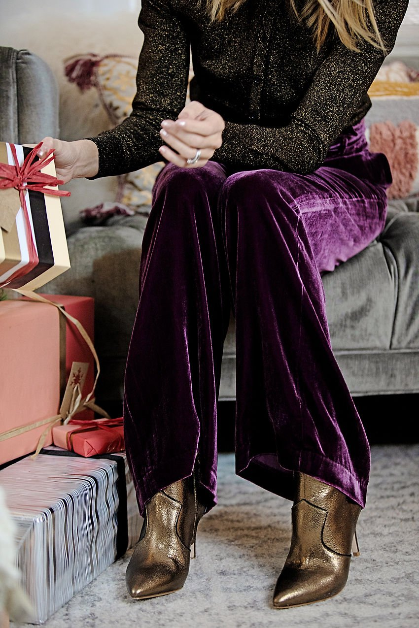 the motherchic wearing boden velvet pants gold booties