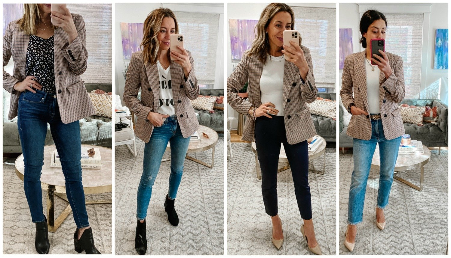 The Motherchic wearing plaid blazer capsule wardrobe