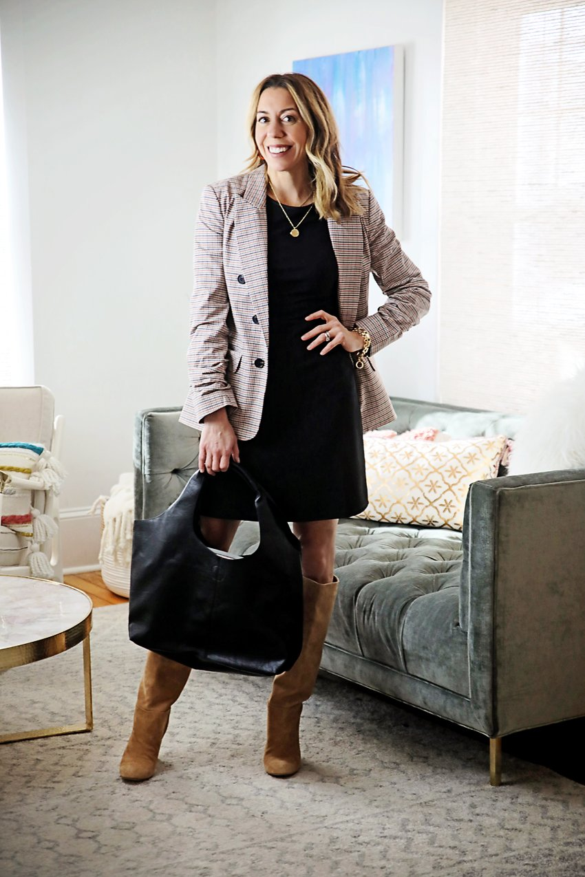 the motherchic wearing plaid blazer with little black dress